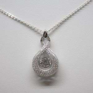 Sterling Silver 925 Dancing Pear Pendant with CZ